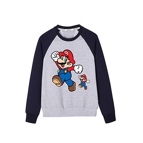 HEAIMONLA Super Mario Pullover Rundhalsausschnitt Mode gedruckte Sweatshirts Freizeit bequemer Pullover Jungen (Color : Black Grey01, Size : 140)