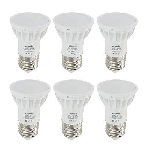 Aiwode 5W E27 Lampadina LED,Bianco Naturale 4000K,Equivalente 50W Lampadina Alogena,Non Dimmerabile 500LM RA85 120°Angolo del fascio,6 Pezzi.
