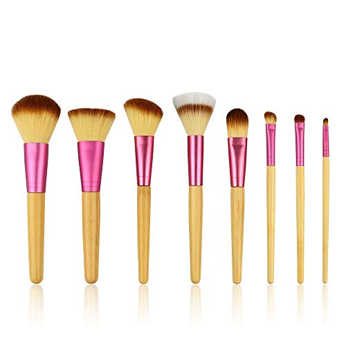 Maquillage Pinceau Contour Pinceau Rose 8 Poignée En Bambou Pinceau Set Sac Capacité De Réparation Poudre Pinceau Maquillage Beauté Maquillage Outils