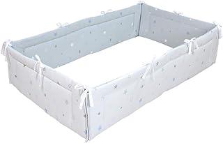 PUPPAPUPO ベビー ベッドガード 四方タイプ 【トゥインクルスター】 ブルー 全面タイプ 70×120のベッド用 レギュラーサイズ ごっつん防止