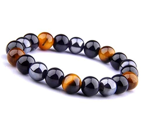 Crystal Vibe Triple Protection Bracelet for Prosperity, Good Luck and Happiness - Natural Stone Tiger's Eye Bracelet, Black Obsidian Bracelet and Crystal Bracelet for Men Women Size 10mm