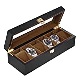Baskiss 6 Slots Watch Box for Men, Solid Wood Watch Display Storage Case