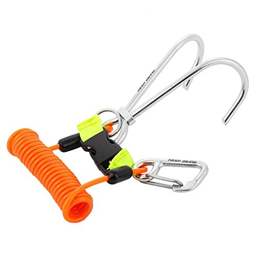 Reefhaken Tauchen, Edelstahl Reef Hook Spirale Spule Lanyard Unisex Adult Clip Doppel Unterwasser Haken(Orange)