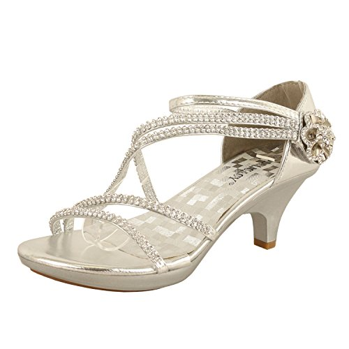 Delicacy Womens Strappy Rhinestone Dress Sandal Low Heel Shoes Heeled Sandals, 48Silver, 8