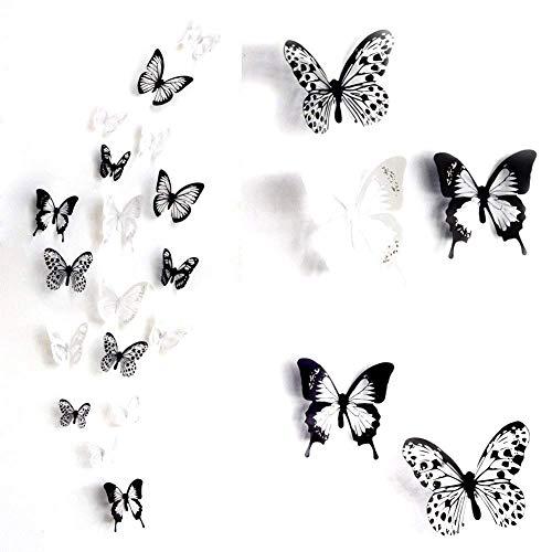 ElecMotive 36 Pezzi Farfalle 3d Farete Misura Grande Adesiv da Parete 3d con Farfalle decorazioni a farfalla in plastica, decorazione da parete