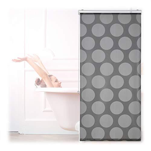 Relaxdays Duschrollo, 80x240 cm, Seilzugrollo für Dusche & Badewanne, Badrollo wasserabweisend, Decke & Fenster, grau