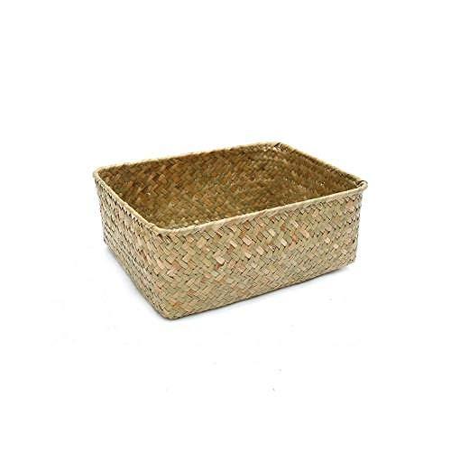 Fine Workmanship Handmade Straw Dried Flower Fruit Pot Basket Rattan Box Candy Earphone Organizer Su