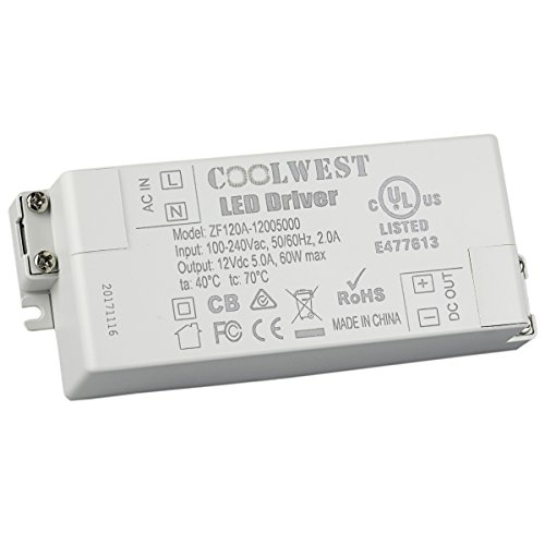 COOLWEST LED Trafo 12V DC 60W Transformator für G4, GU10, MR11, MR16 LED Lampen, Lichtstreifen