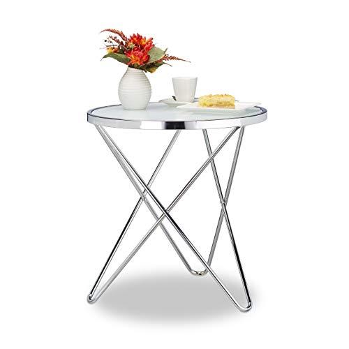 Relaxdays Beistelltisch Glas, Medium, Chrom, Milchglas, Couchtisch, Kaffeetisch, Stahl, HBT: 10 x 86 x 62 cm, silber