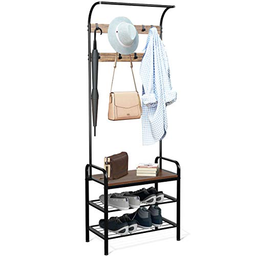 Tangkula 3-in-1 Industrial Coat Rack Hall Tree, 72.5 Inches Shoe Bench Entryway Storage Shelf with 9 Hooks, Wood Look Accent Furniture with Metal Frame, Easy Assembly (Brown)