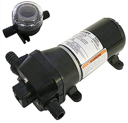 Flojet 04325143L Heavy Duty Automatische Deck-Waschpumpe mit Düse, 4,5 GPM, 40 PSI, 12 Volt, 6 A, schwarz