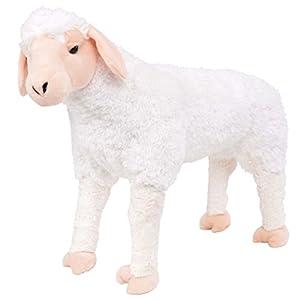 vidaXL Oveja de Peluche Grande de Pie XXL Blanca Animal de Juguete Ovejita