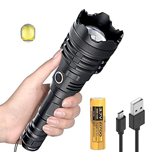 Windfire Torcia Militare Professionale, Torcia LED Ricaricabile 20000 Lumen Alta Potenza XHP110-16core con Impermeabile 5 modalità di illuminazione Zoomabile [Classe di efficienza energetica A]