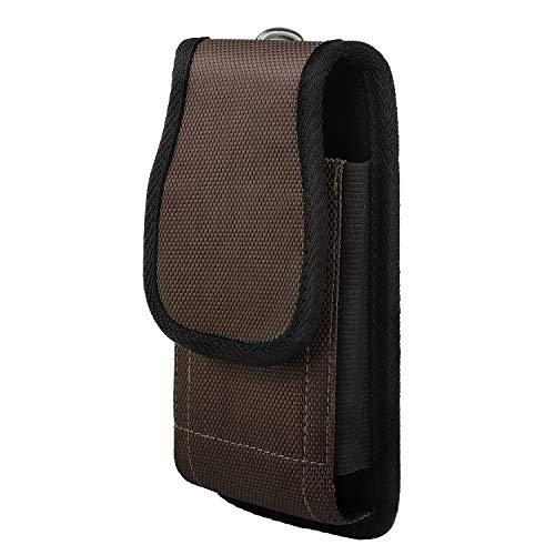 MoKo Gürteltasche Hülle mit Gürtelclip für iPhone 12/12 mini/12 Pro/SE 2020/Xs Max/XR/Xs/X, Galaxy Note 10/Note 10 Plus/S10e/S10/S10 Plus, Pixel 3a/3a XL, Nylon Gürteltasche Holster Cover - Braun