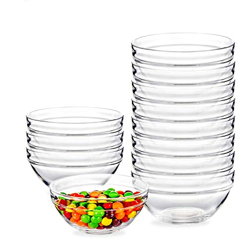 12 PCS 4 Inch Glass Ramekins Bowls,WERTIOO Mini Glass Bowls for Kitchen Prep, Dessert, Dips, and Candy Dishes or Nut Bowls