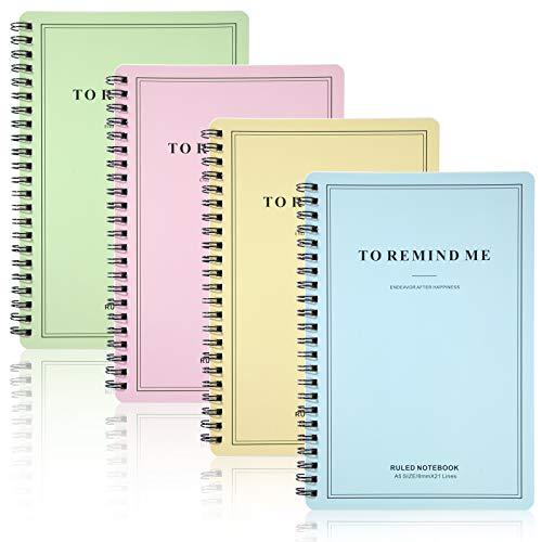 Cuaderno de Anillas A5 Libretas Papel, Bloc de Notas Espiral con Líneas, Bonitas Cubierta de Kraft 120 páginas/60 hojas Forrado para Escolar Deberes, Apuntes de clase, Diario de Viaje (4 Piezas)