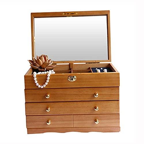 Bella Caja de joyería organizador joyería caja de joyería madera sólida con cerradura vintage franela joyería de madera caja de almacenamiento de madera pendientes caja de regalo pendientes caja de al