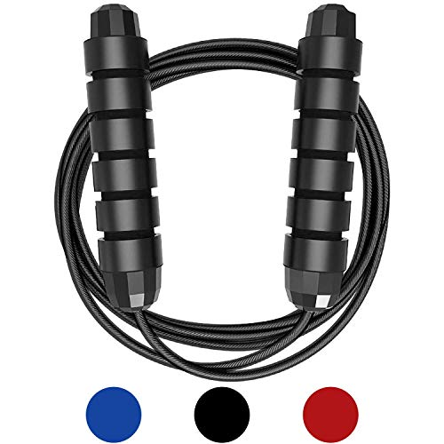 Springseil Sport, Huttoly jump rope kinder 3.0M Speed Rope Seilspringen fitness Für Fitness, Ausdauer & Abnehmen (schwarz) (A)