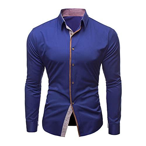 Liquidación Venta SHOBDW 2021 Camisa Chaqueta Color Sólido Hombre Formal Solapa Alto Casual Botones Cárdigan Deportiva Top Talla Grande Calor Otoño e Invierno(Azul,3XL)
