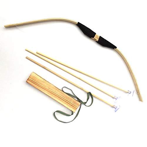 siwetg Juego de Arco y Flecha de bambú, Juego de Juguete de Arco Verde para Cosplay, Deportes al Aire Libre, Juguete de Regalo para niños, 60, A