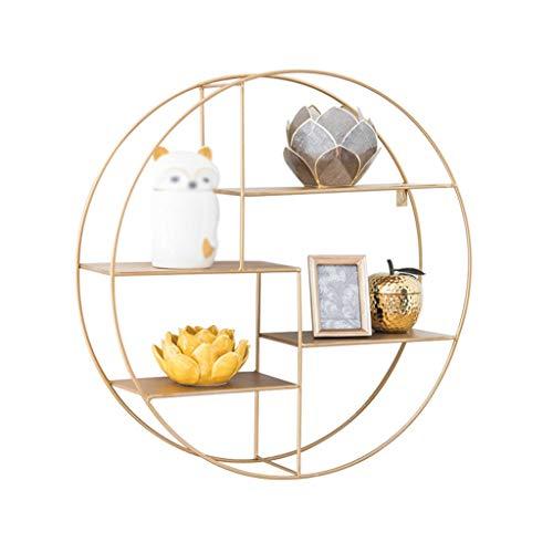 Wandplank Nordic woonkamer muur opknoping smeedijzer eenvoudige boekenplank cirkelvormige scheidingswand goud display stand HAOSHUAI