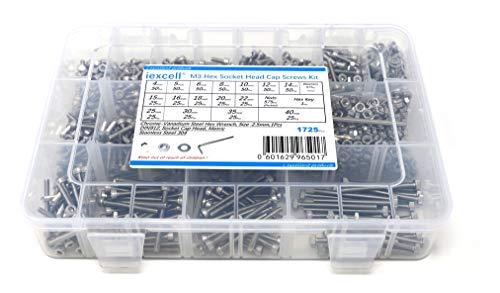 iExcell 1725 Pcs M3 x 4/5/6/8/10/12/14/15/16/18/20/22/25/30/35/40 mm Thread Pitch 0.5 mmmStainless Steel 304 Hex Socket Head Cap Screws Blots Nuts Washers Assortment Kit