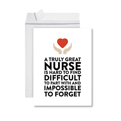 Andaz Press Funny Jumbo Retirement Card With Envelope 8.5 x 11 inch, Greeting Card, Truly Great Nurse, Impossible To Forget