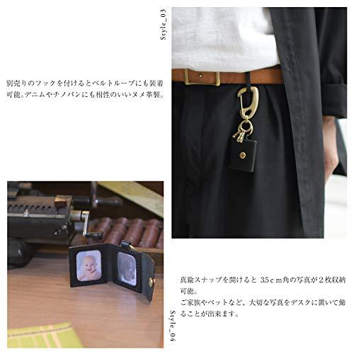 名入れ刻印付きヌメ革フォトキーホルダ写真キーホルダー写真ケースフォトフレームレザーメッセージ真鍮ギフト(チョコ,丸紐ナチュラル)