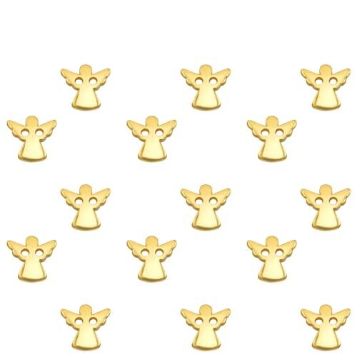 Sadingo Colgante de ángel dorado, 15 unidades, 11 mm, macramé, pendientes para manualidades, conector pequeño, amuleto de la suerte para niñas