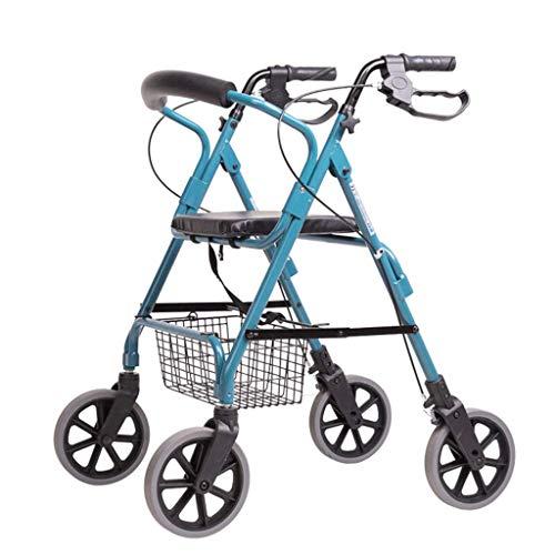 OCYE Compacte inklapbare trolwagen, luxe, draagbare multifunctionele trolley met zitting en wiel, in hoogte verstelbaar voor revalidatiehulp, blauw