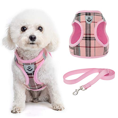 Soft Mesh Plaid Puppy Harness – Small Dog Harness and Leash Set, Adjustable & Comfortable Padded Reflective Vest for…