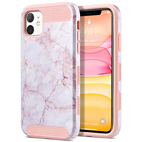 ULAK Compatible with iPhone 11 Case, Slim Hybrid Hard PC Shell Shockproof Phone Case for Women Girls, Anti-Scratch Protective Bumper Cover for iPhone 11 6.1 inch, Pink Marble
