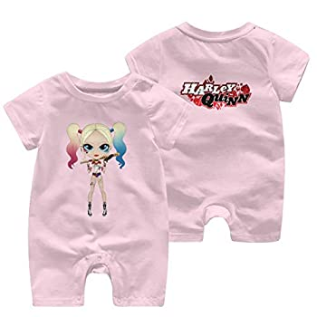 WgAmin Harley Quinn Baby Onesie with Short Sleeves Cool Baby Short Sleeve Jumpsuit 0-3 Months Pink