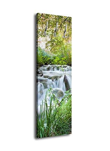 wandmotiv24 Garderobe mit Design Bach im Wald G419 40x125cm Wandgarderobe Natur Wasserfall Baum