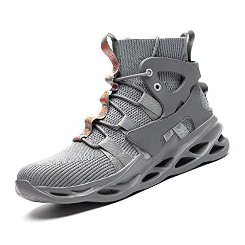 Aingrirn Zapatos de Seguridad para Hombre Mujer Zapatillas de Trabajo con Puntera de Acero Ligeros Respirable Calzado de Industrial y Deportiva (Color : Grey, Size : 47 EU)