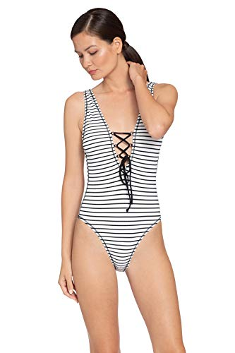 Robin Piccone Women's Sailor Lace Up Plunge One Piece Swimsuit White/Black 8