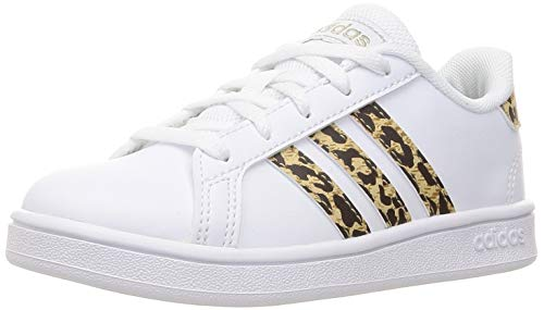 adidas Grand Court K, Scarpe da Tennis, Ftwr White/Ftwr White/Champagne Met, 36 EU
