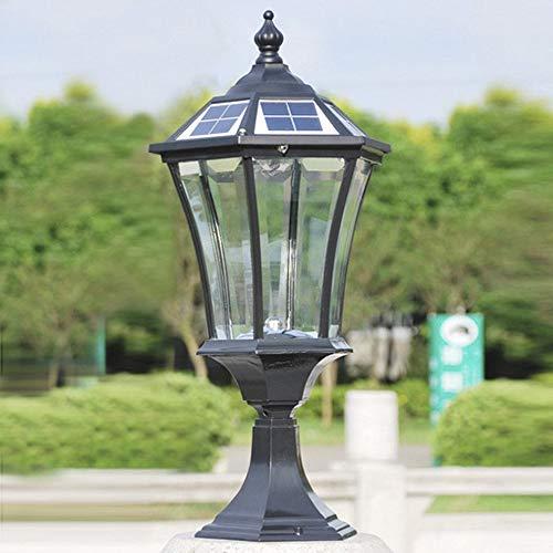 LAKIQ Solar LED Pillar Light Outdoor Post Light Fixture Outdoor Garden Lighting 21'' H Black Solar Power LED Lamp for Patio Garage Walkways