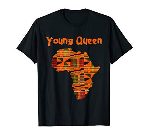 Girls African Print Little Kids Shirt with Queen Kente Cloth