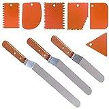 3 spatola torta angolata e 6 pezzi raschietto per torta più liscia, SourceTon 3 formati di spatole per glassa con manico in legno (9.5', 8', 6') e 6 strumento per lisciare la torta arancione