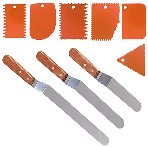 3 Angled Cake Spatula 6 Pieces Cake Scraper Smoother DaKuan 3 Sizes of Stainless Steel Cake Icing Spatulaswith wooden handle 95 8 6 6 Pieces Orange Cake Smoothing Cutter Plate Tool