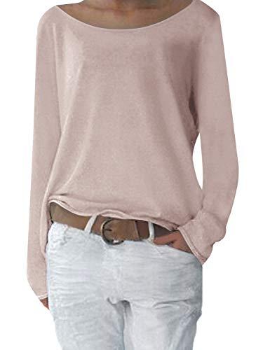 Yidarton Damen Langarm T-Shirt Rundhals Ausschnitt Lose Bluse Hemd Pullover Oversize Sweatshirt Oberteil Tops (XL, Y-Beige)