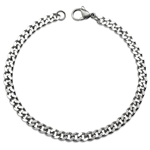 Silvadore - 4mm Curb Necklace OR Bracelet Chain - Silver Stainless Steel Jewellery - 14' to 36' OR 7.5' to 9' - Men Women Boys Girls - 3mm Thickness - 60 Day Guarantee (7.5, Branded Velvet Pouch)