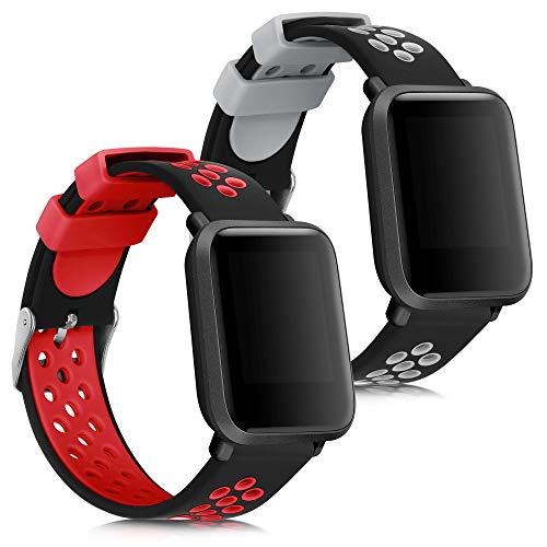 kwmobile 2X Brazalete Compatible con Huami Amazfit Bip S/Bip S Lite -  Pulsera de Silicona Negro/Rojo/Negro/Gris sin Fitness Tracker