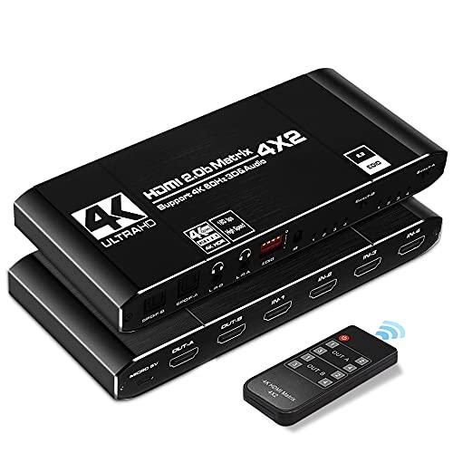 Switch HDMI 4K @ 60Hz,KuWFi HDMI Switcher Splitter 4 in 2 Out HDR,HDCP2.2,4K Répartiteur de Commutation matricielle HDMI avec extracteur EDID et Prise en Charge de la télécommande IR