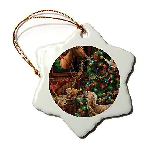Fhdang Deko-Fahne für Weihnachten, Scheune, Garten, Souvenir, Schneeflocke, Porzellan, doppelseitig, 7,6 cm