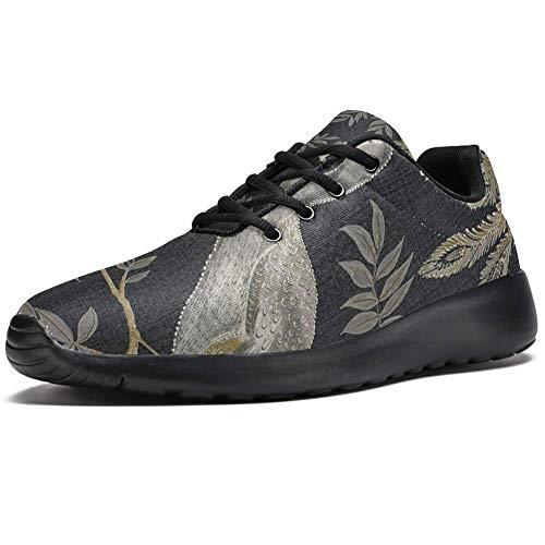 TIZORAX Sport-Laufschuhe für Herren, bestickt, zwei Pfauen, modische Sneaker, Netzstoff, atmungsaktiv, Wandern, Tennisschuh, Mehrfarbig - mehrfarbig - Größe: 47 EU