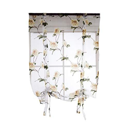 Cocina Baño Ventana Cortina romana Cenefas de gasa transparente floral Decoraciones para el hogar - # 4 Amarillo 140x160cm