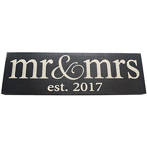 Mr. & Mrs. est 2017 Panneau en bois Noir Petit format