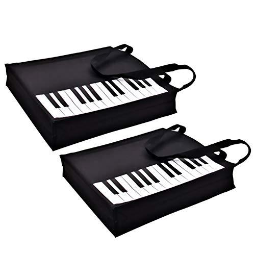 Piano Keys Handbag Reusable Grocery Bag Shoulder Shopping Bag Tote Bag for Music Teacher Girls Gift Bag (Piano Keys Handbag-2Pack)